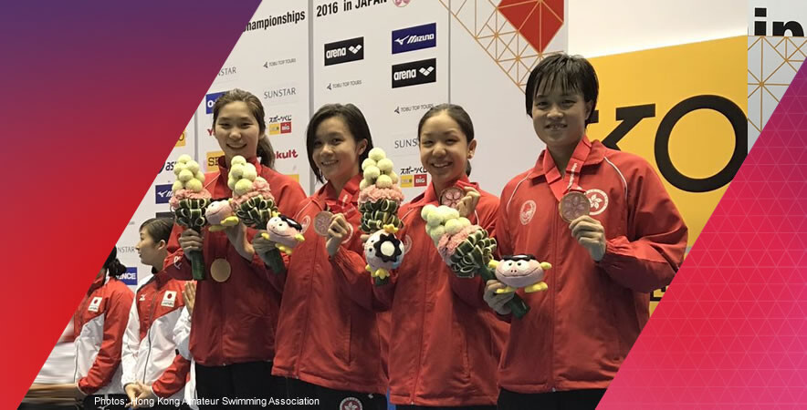 The Hong Kong women swimmers finished with one silver in individual event and 3 bronze medals in relay event at the 10th Asian Swimming Championships 2016 in Japan.