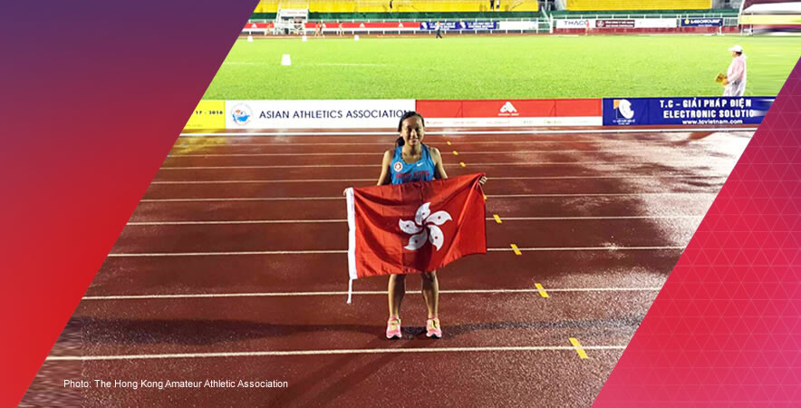 Hong Kong junior sprinter Chan Pui-kei won a silver medal in women's 100m at the 17th Asian Junior Athletics Championships