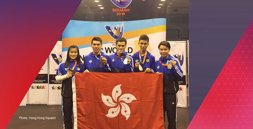 The Hong Kong squash team were among medallist by winning 1 gold, 2 silver and 1 bronze medal in all category at the 9th World University Squash Championship 2016.