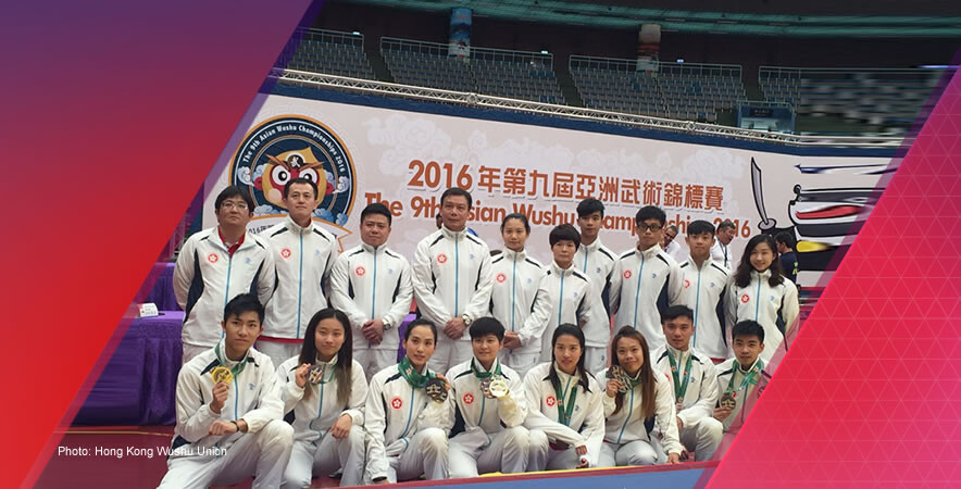 The Hong Kong wushu team finished with 3 gold, 3 silver and 5 bronze medals at the 9th Asian Wushu Championships 2016.