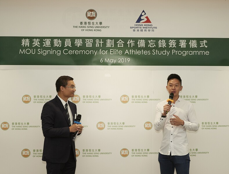 <p>Mr Marco Kwok Ho-ting (right) retired Hong Kong elite cycling athlete and student of HSUHK, shared his experiences at HSUHK. </p>